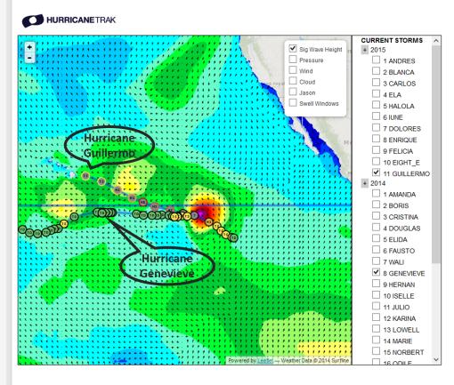 July 31 Hurricane Positions (Source:  HurricaneTrak, surfline.com)