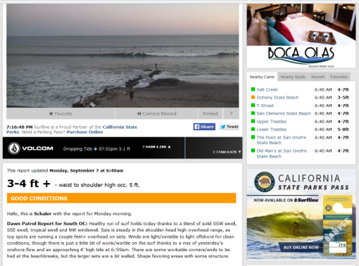 Source: Surfline Doheny Beach camera/report