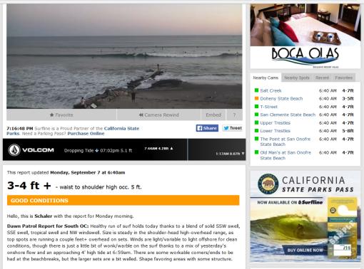 Source: Surfline Doheny Beach camera/report